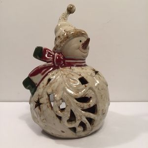 Other - Snowman Tea Light Candle Holder Glazed Pottery